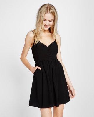 black dress ... button front cami dress DPGJGQJ