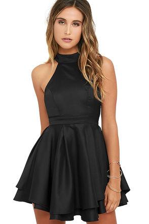 black dress lulus. dress rehearsal black skater dress HCVJWFU