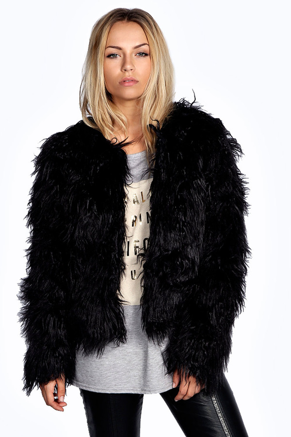 black fur coat $70, black fur jacket: boohoo aimee shaggy faux fur coat. sold by boohoo ESFEAFD