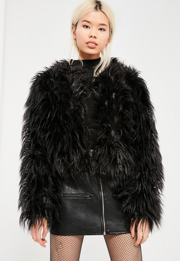 black fur coat black mongolian faux fur coat. $77.00. previous next EVLDAYN