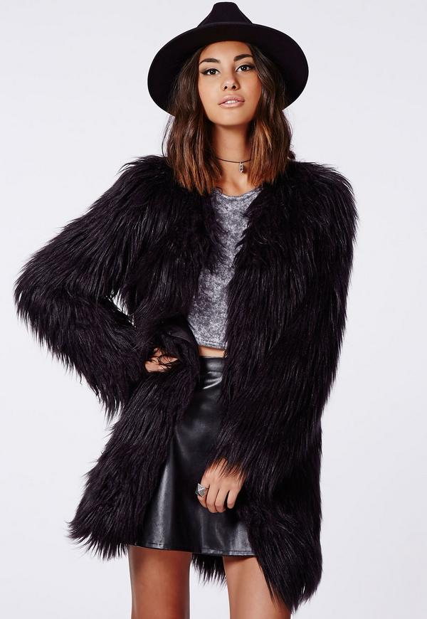 black fur coat cloe shaggy faux fur coat black YNHBEKM