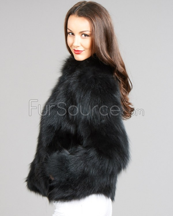 black fur coat jet black chic fox fur jacket with satin lining YECAWFJ