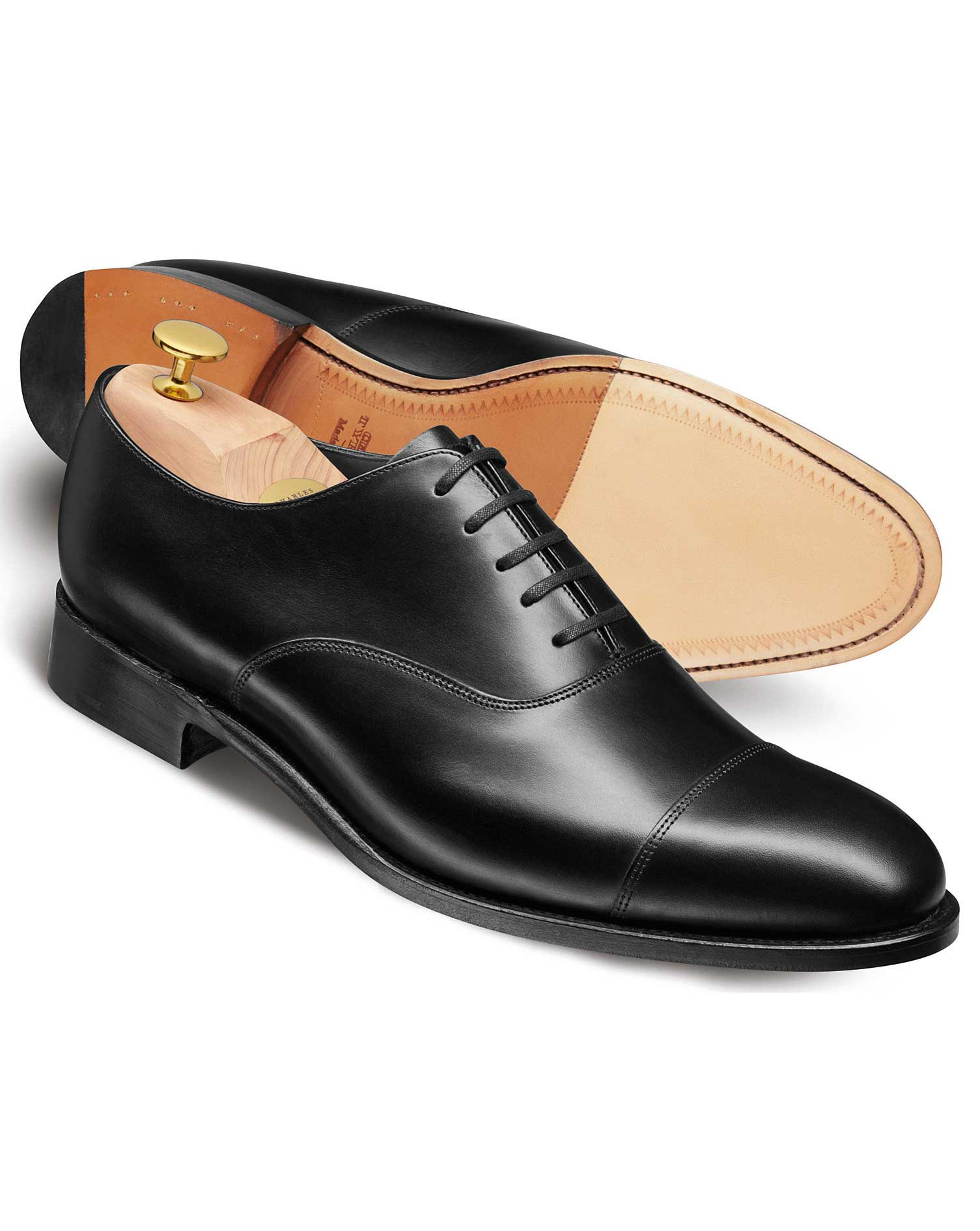 black heathcote calf leather toe cap oxford shoes ZSVGGXB