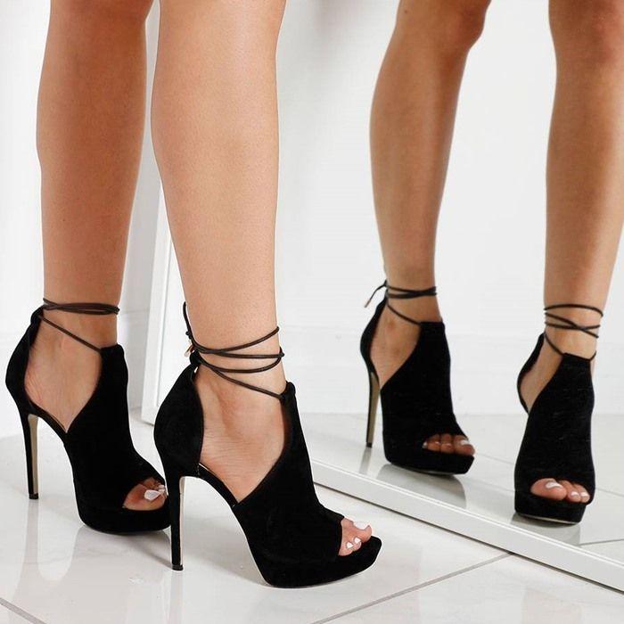 black heels u0027cerseiu0027 lace up heel in black faux suede ZNTXICR