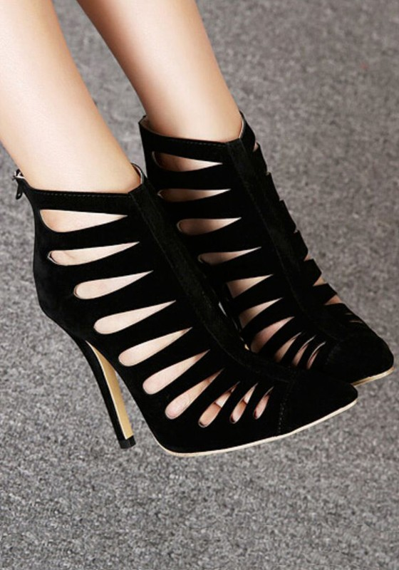 black hollow-out point toe stiletto ankle sexy high heels KOMJWIT