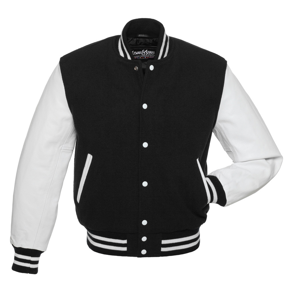 black jackets black-wool-white-leather-letterman-jacket ADWGLEW