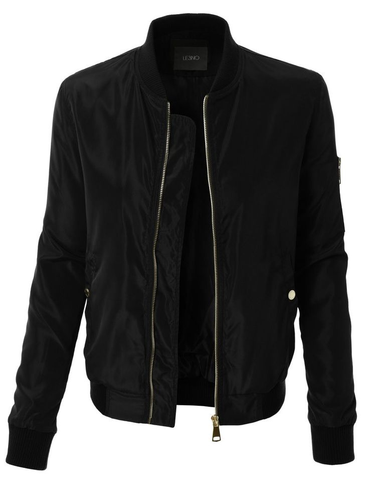 black jackets le3no womens classic slim zip up biker bomber jacket with pockets UXXSZWZ