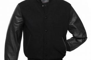 black jackets plain-black-wool-leather-varsity-jackets IJNSSLJ