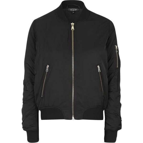 black jackets topshop ma1 zip bomber jacket ($84) ❤ liked on polyvore featuring  outerwear, jackets XMQHALA