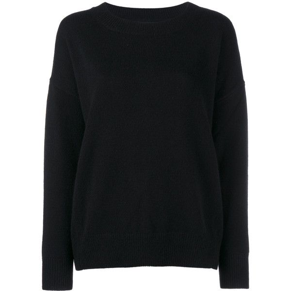black jumper frame denim cashmere jumper found on polyvore featuring tops, sweaters,  jumper top, black OXVDKNJ