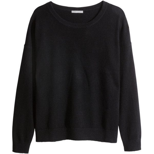 black jumper hu0026m cashmere jumper (740 ars) ❤ liked on polyvore featuring tops, sweaters, AKVGVGT