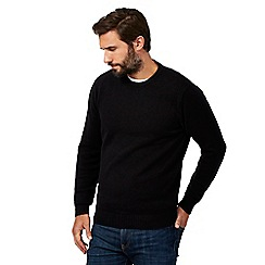 black jumper maine new england - big and tall black plain ribbed crew neck jumper EZDCPCJ