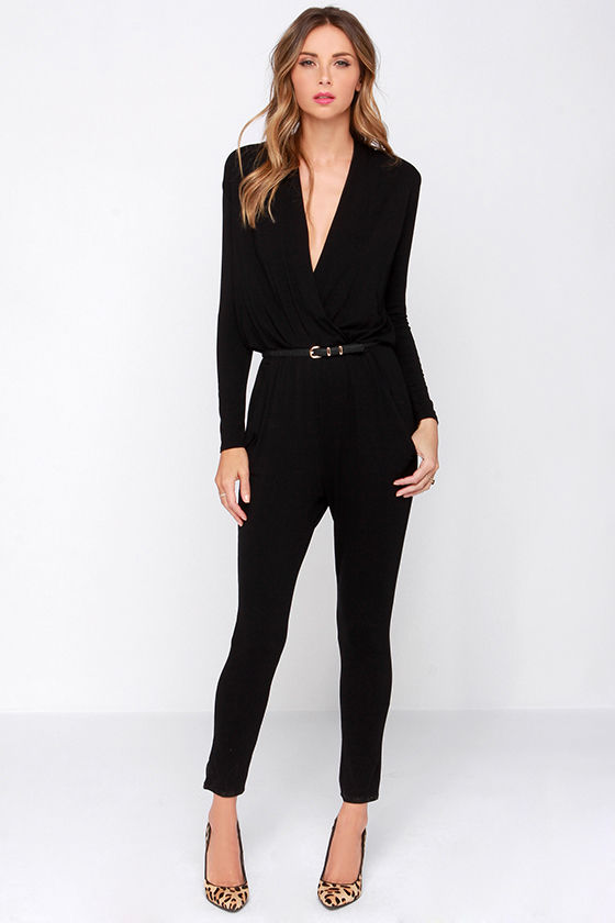 Black Jumpsuits cool black jumpsuit - surplice jumpsuit - long sleeve jumpsuit - $34.00 NFCKZQZ