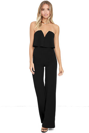 Black Jumpsuits lulus. power of love black strapless jumpsuit FUUQCXM
