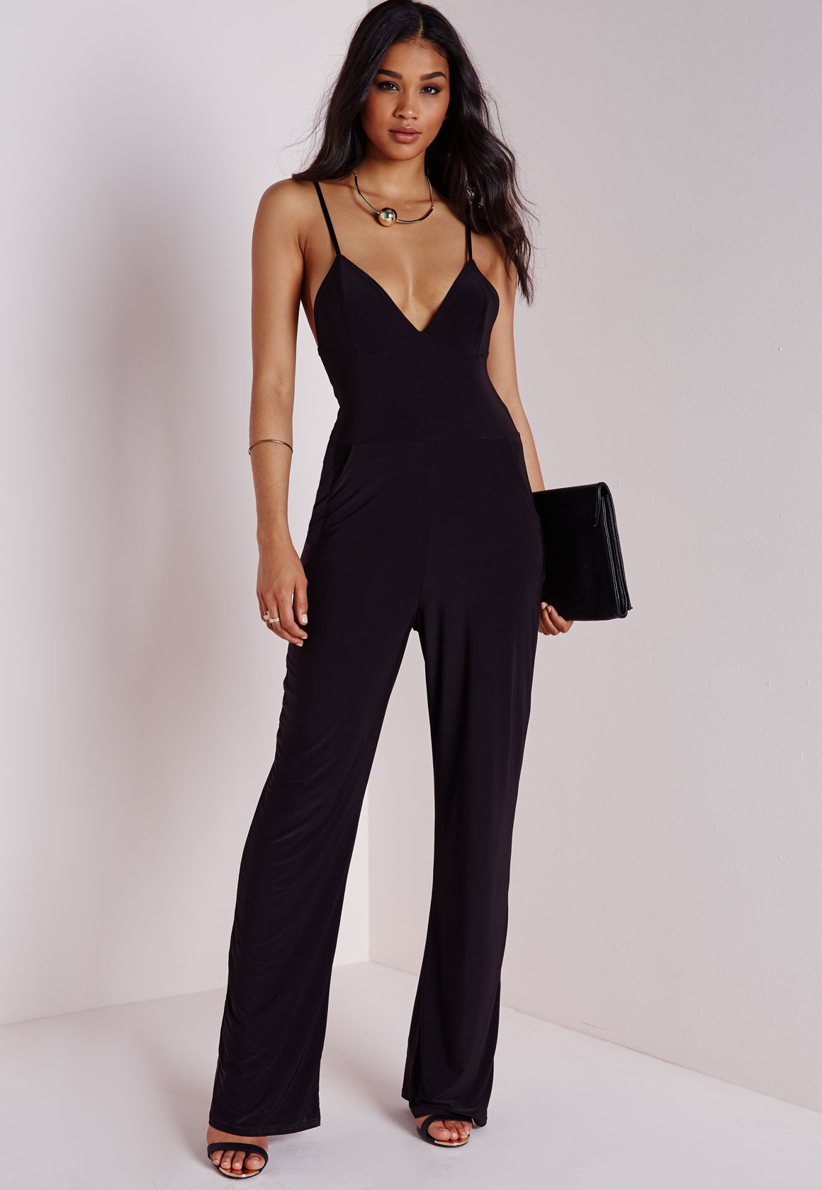 Black Jumpsuits slinky wide leg jumpsuit black - jumpsuits - black jumpsuits - missguided CFYKTNC