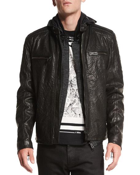 black leather jacket archer coated leather jacket, black NLWBDOE