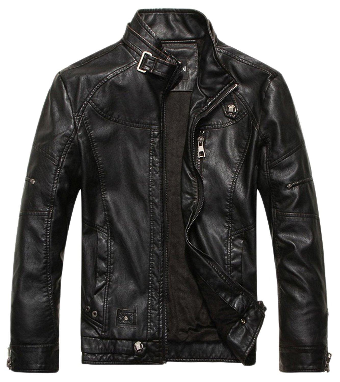 black leather jacket chouyatou menu0027s vintage stand collar pu leather jacket at amazon menu0027s  clothing store: NDVSUVA