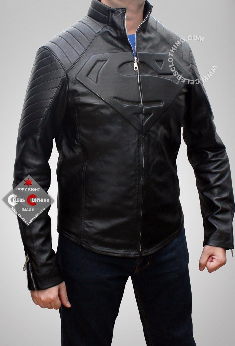 black leather jacket clark kent jacket VOPGDEO