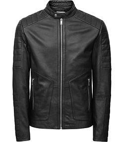 black leather jacket leather bomber jacket grey $710 $345 mens black leather biker jacket -  reiss native RKRRPVE