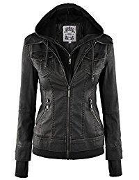 black leather jacket mbj womens faux leather motorcycle jacket with hoodie KPDHPEA