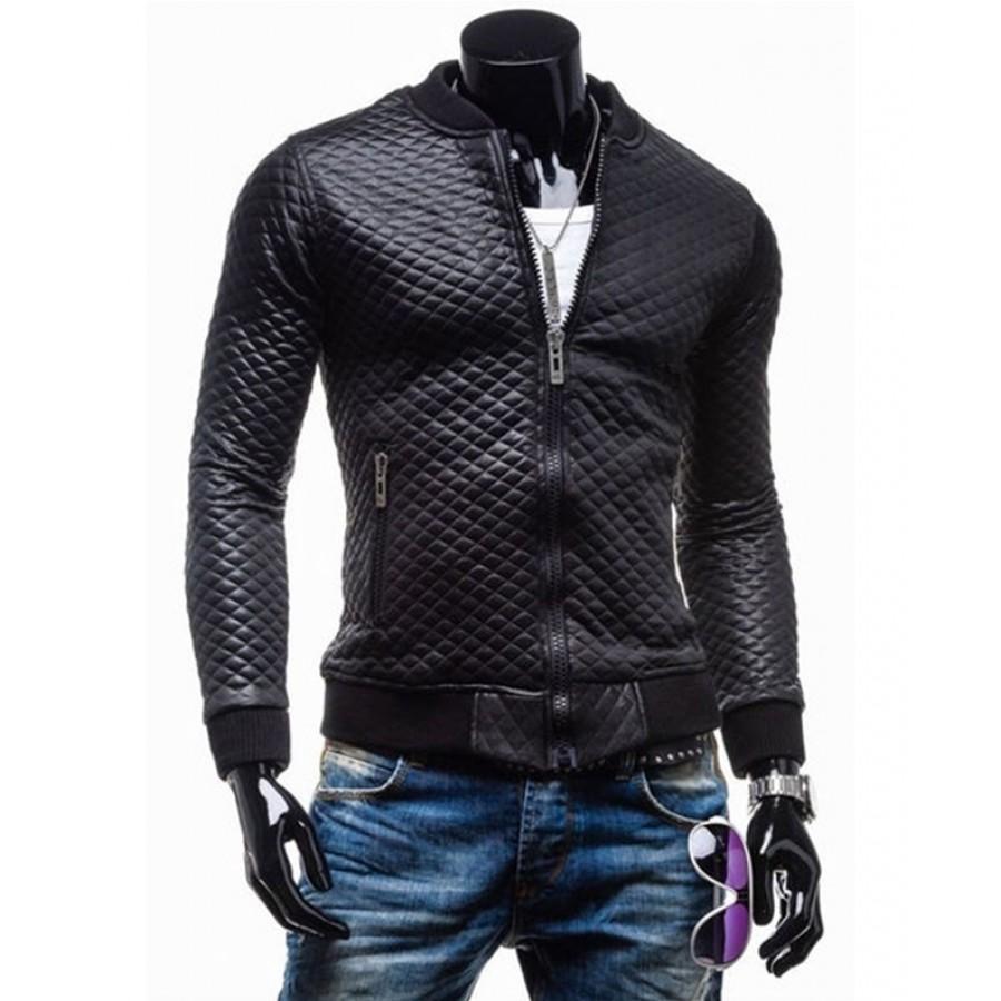 black leather jacket slim fit black quilted faux leather motorcycle jacket for mens EKLKRPG