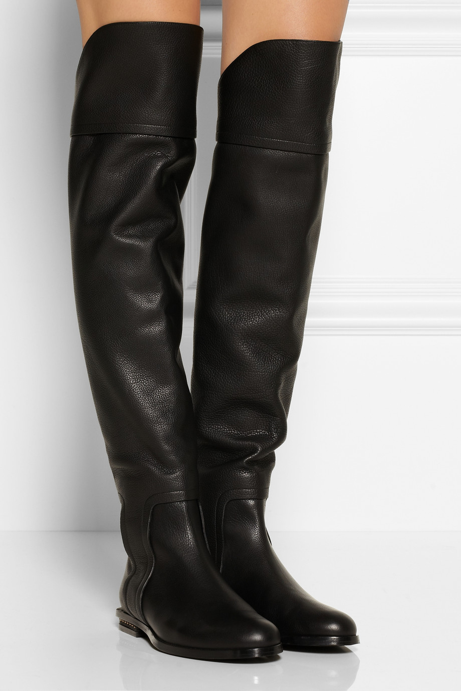 black leather vogue designer flat knee high boots AHWTSNZ