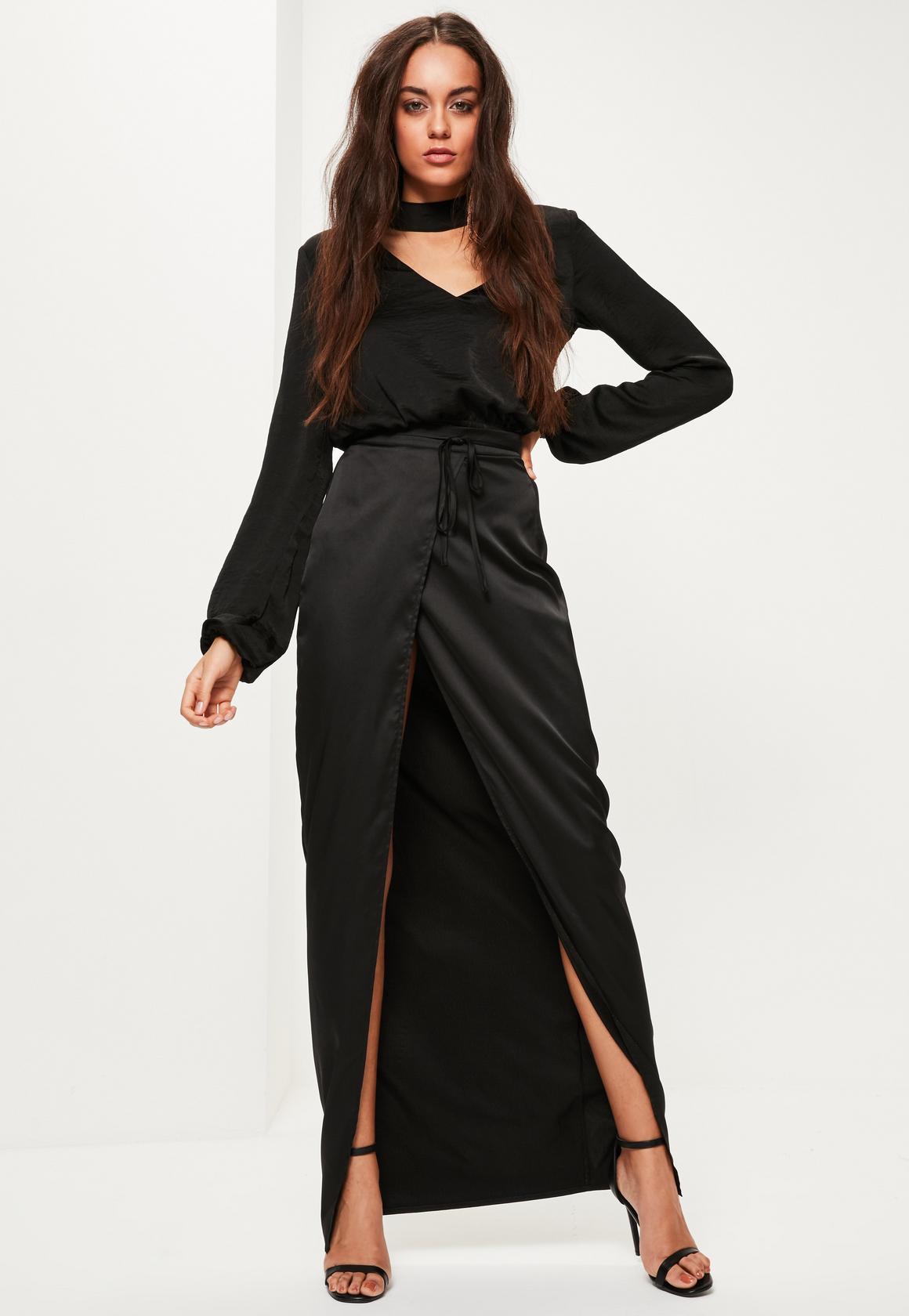 black maxi skirt black skinny belt split maxi skirt PBENZMS