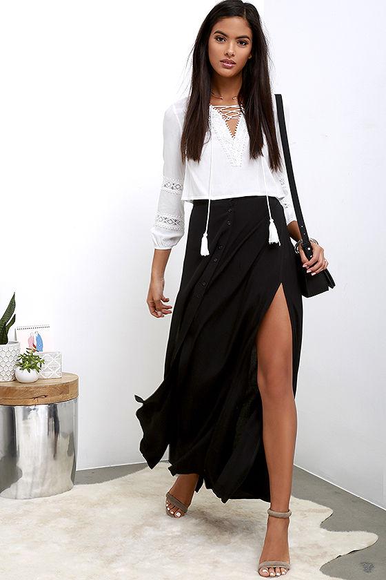 black maxi skirt chic black skirt - maxi skirt - button-front skirt - $39.00 ETLMCAZ