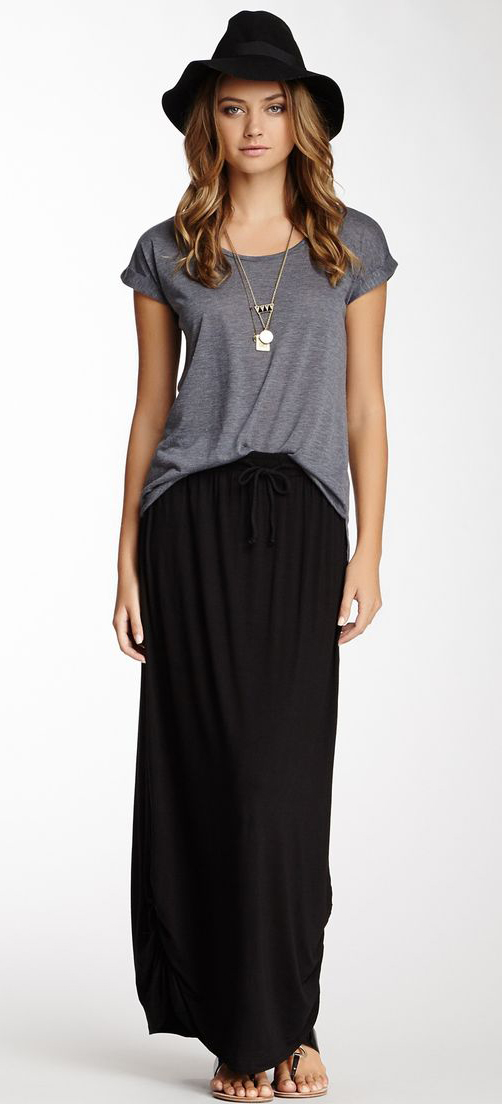black maxi skirt find this pin and more on ideas moda. ruched side maxi skirt black ... GJANIOT