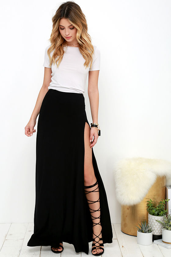 black maxi skirt sexy black skirt - maxi skirt - side-slit skirt - $38.00 LFJSXCL