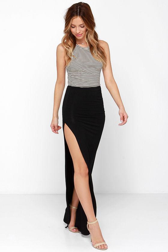 black maxi skirt sexy black skirt - maxi skirt - slit skirt - $41.00 GKRRTMA