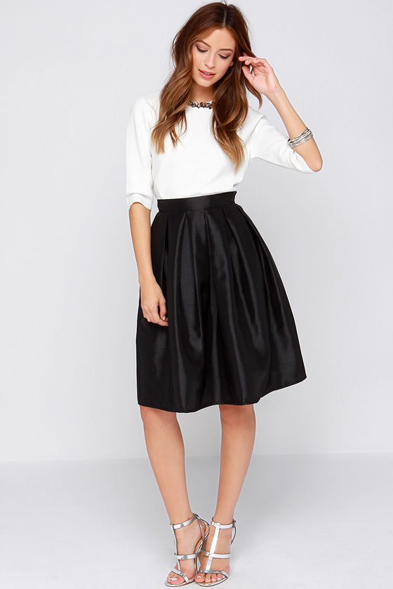 black pleated skirt chic black skirt - midi skirt - skater skirt - pleated skirt - $34.00 GURICMO