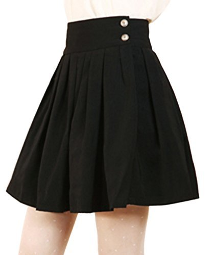 black pleated skirt chouyatou womenu0027s double waist side buttons pleated skirt (large, black) KMRZZAE