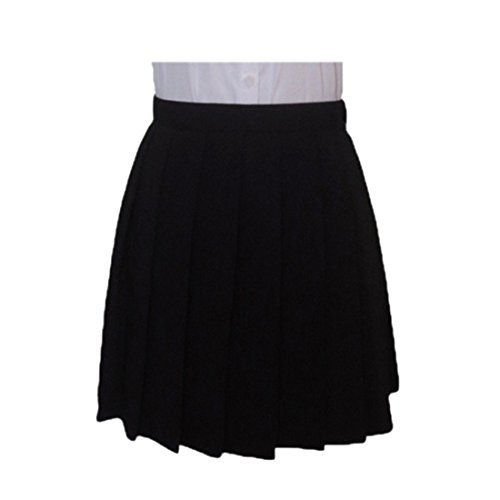 black pleated skirt fashion japanese cosplay pleated high waist student uniforms solid color  skirts DMVJGGJ