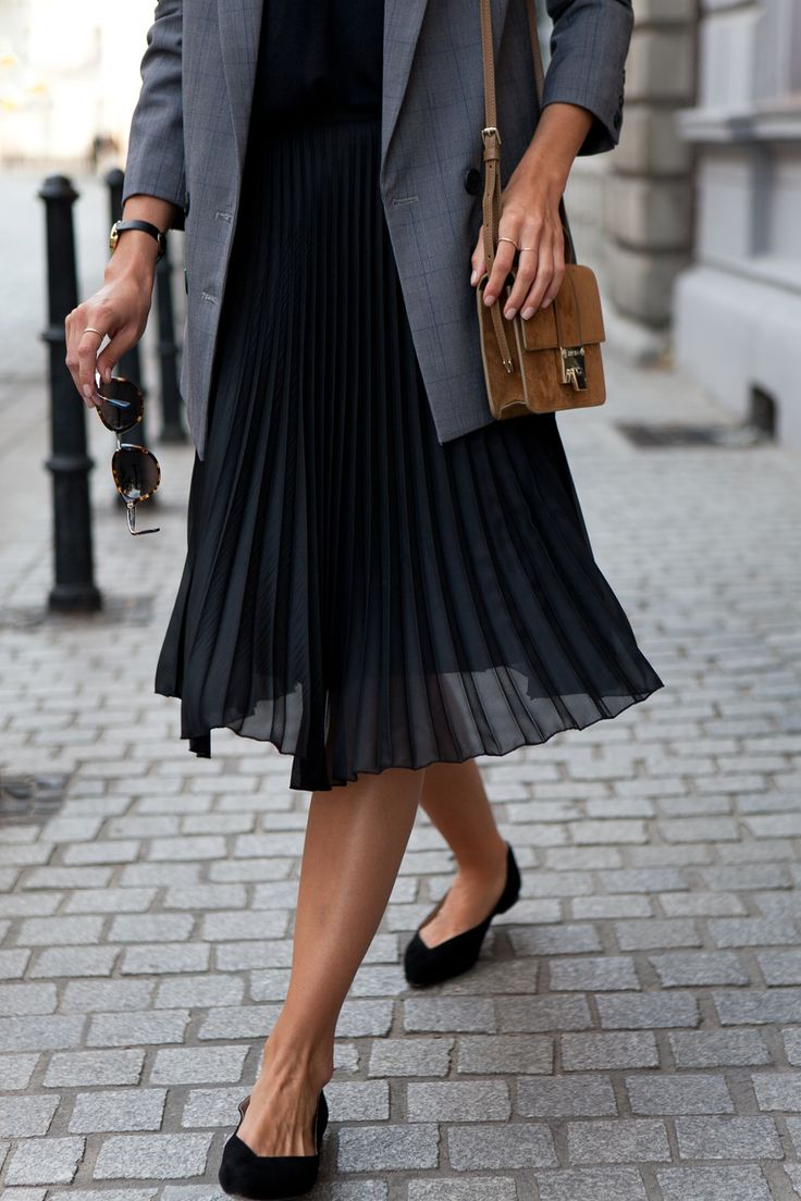 black pleated skirt sheer pleated skirt, camel bag u0026 black flats. AVVZXVR