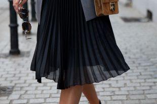 black pleated skirt sheer pleated skirt, camel bag u0026 black flats. UZIVPYV