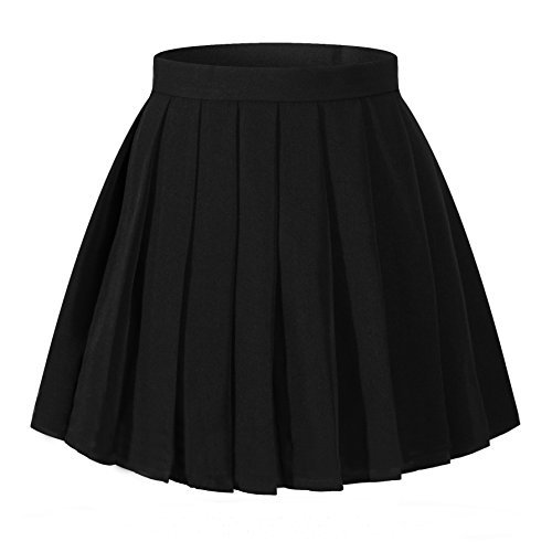 black pleated skirt women`s flared vintage pleated high waist pleated skirts(xl,black) FETOCTF