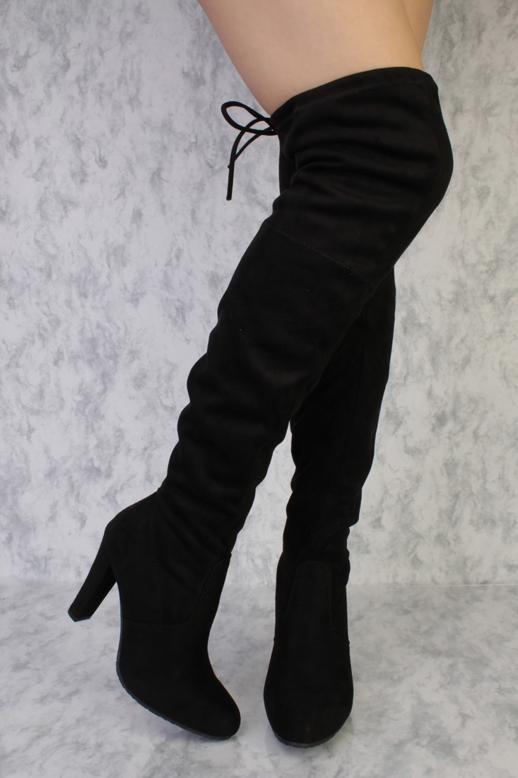 black round pointy toe single sole high heel thigh high boots faux suede LSEFIMQ
