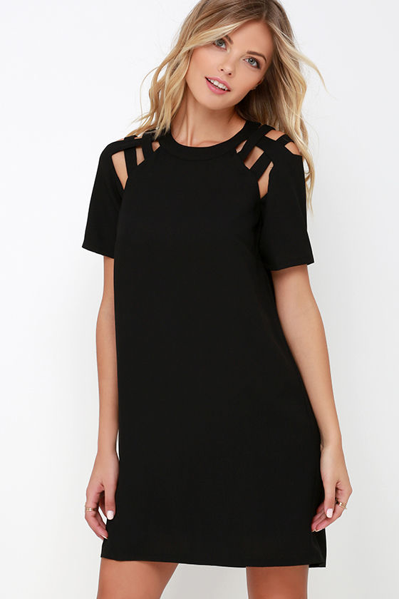 black shift dress black dress - shift dress - short sleeve dress - $42.00 LMYQHFM