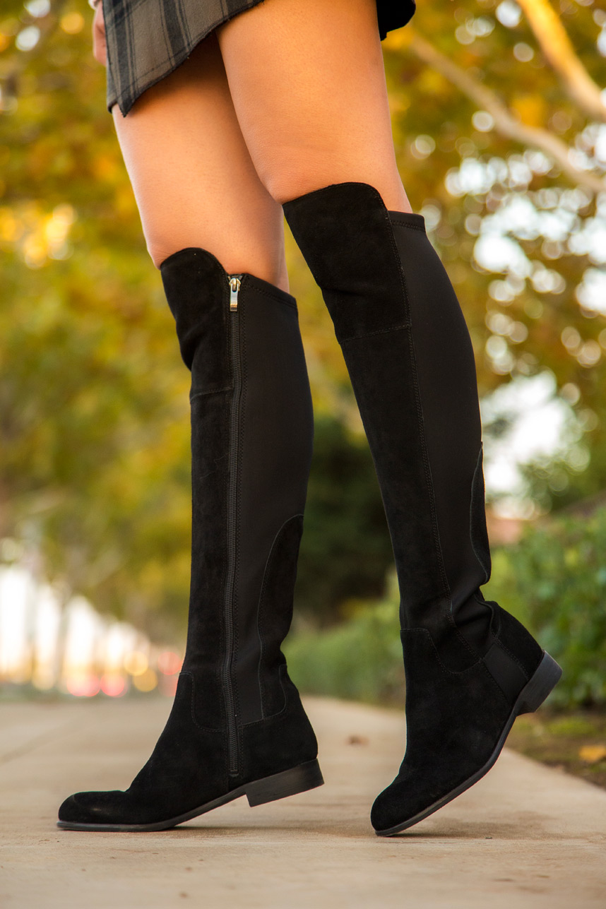 black suede over the knee boots- visit stylishlyme.com to read tips on  shopping IMBKEXE
