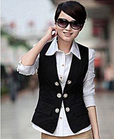 black suit vest for women. http://www.formalworkattire.com/ NBLASVU