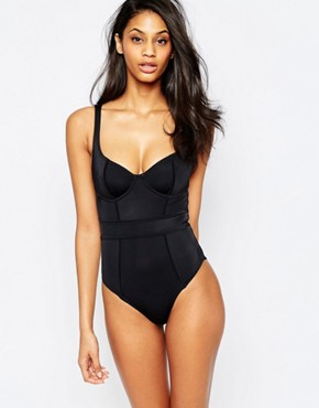 black swimsuit asos fuller bust exclusive underwired paneled swimsuit dd-g YKEDFTC