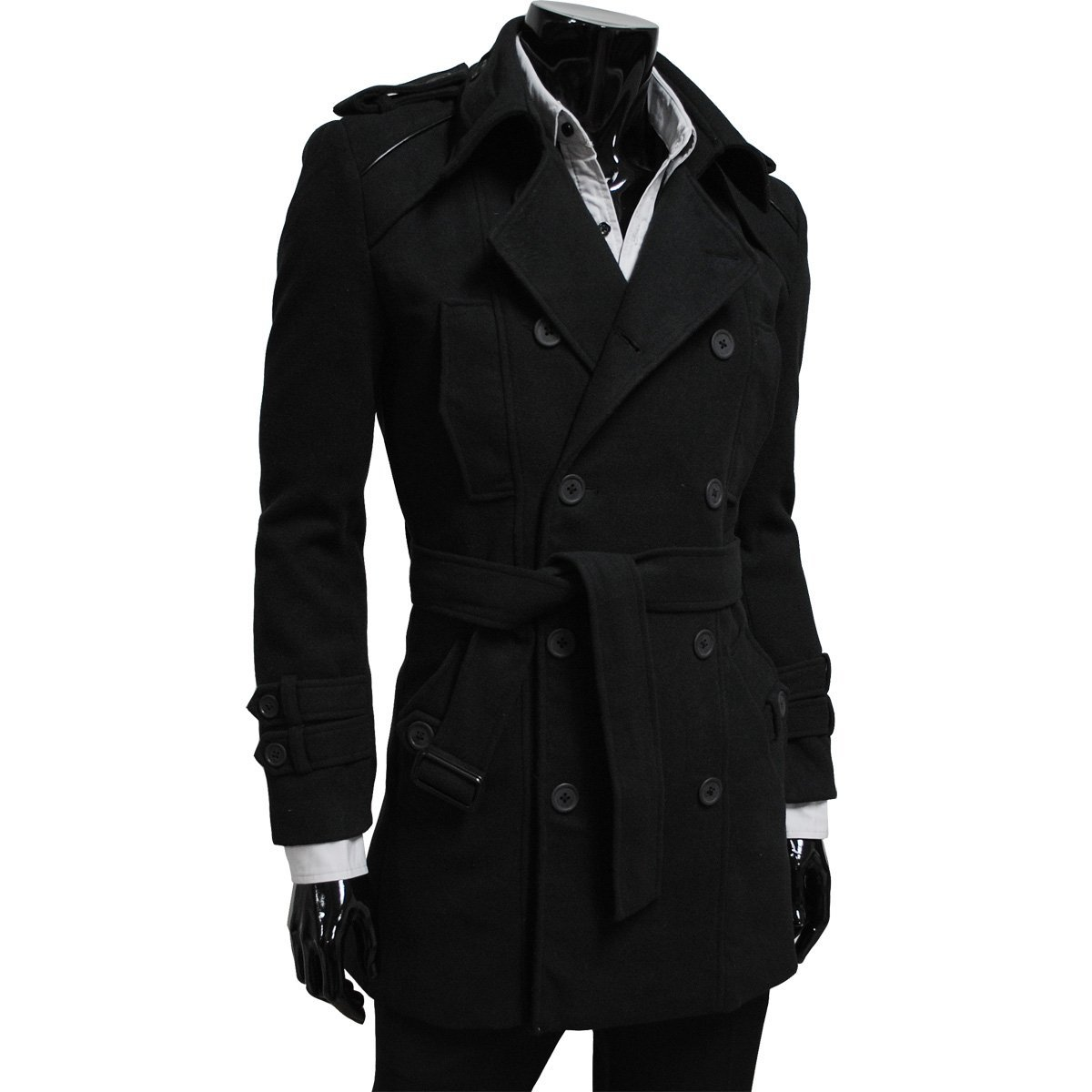 black trench coat, trench coats for men, leather trench coat, OBHEZLV