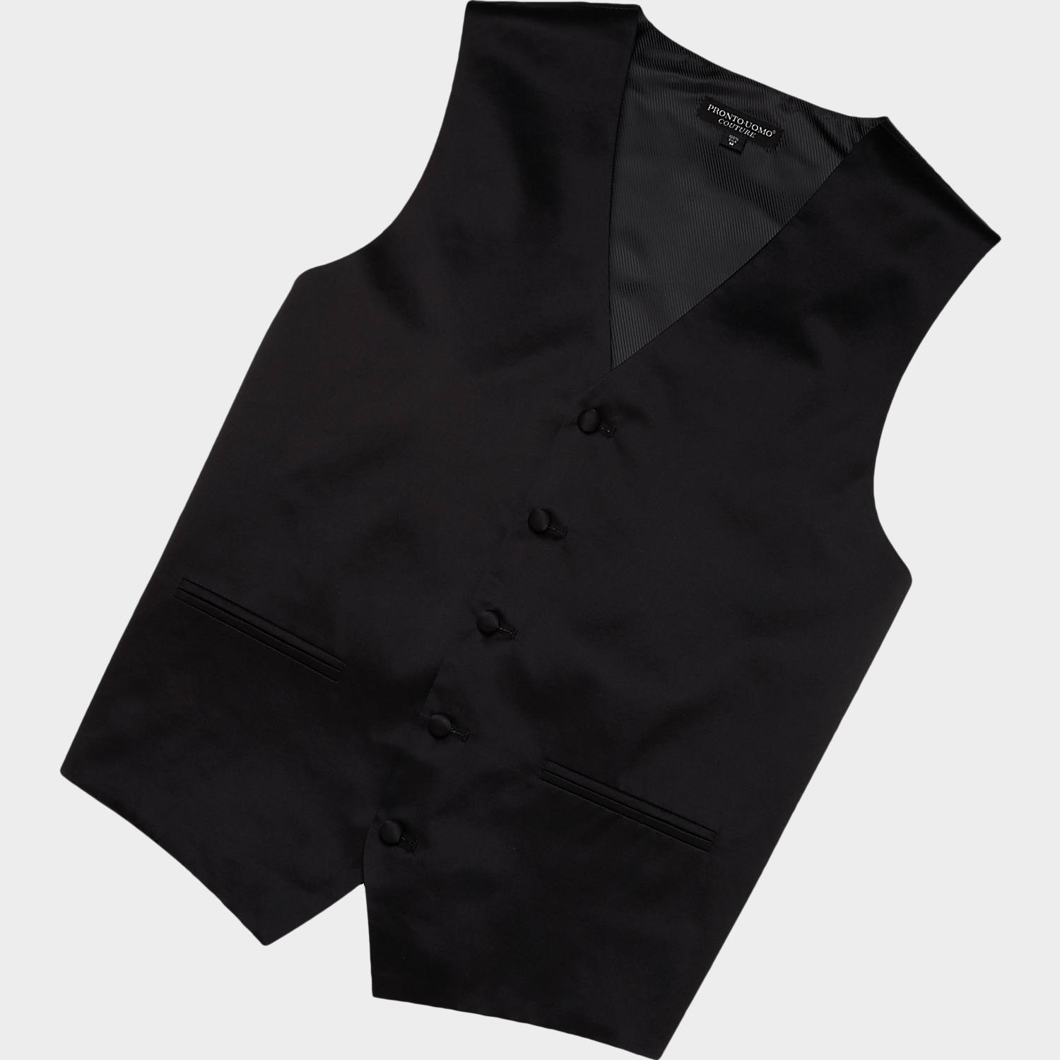 black vest pronto uomo black silk vest ZKFVOHJ