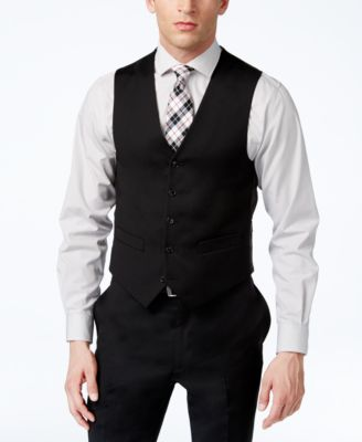 Various styles of men's black vest
