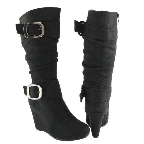 black wedge boots amazon.com | women knee high faux suede wedge boots black /w buckles side  zipper OCVGKMV