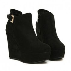black wedge boots fashion buckle and black design wedge boots for women, black NOVTTLU