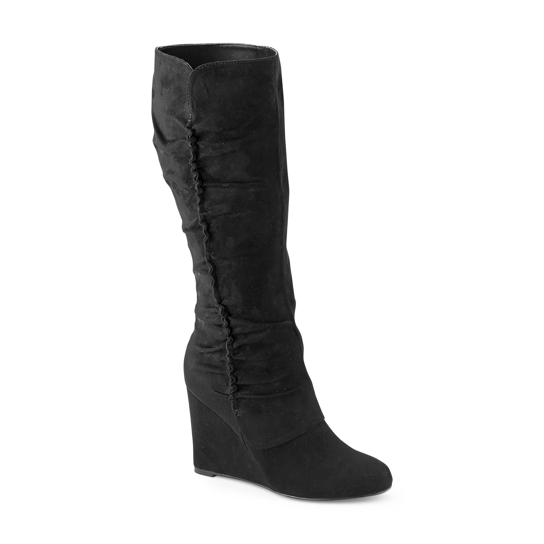 black wedge boots mia amore womenu0027s adyson wedge boot - black - shoes - womenu0027s shoes - HILTYXB