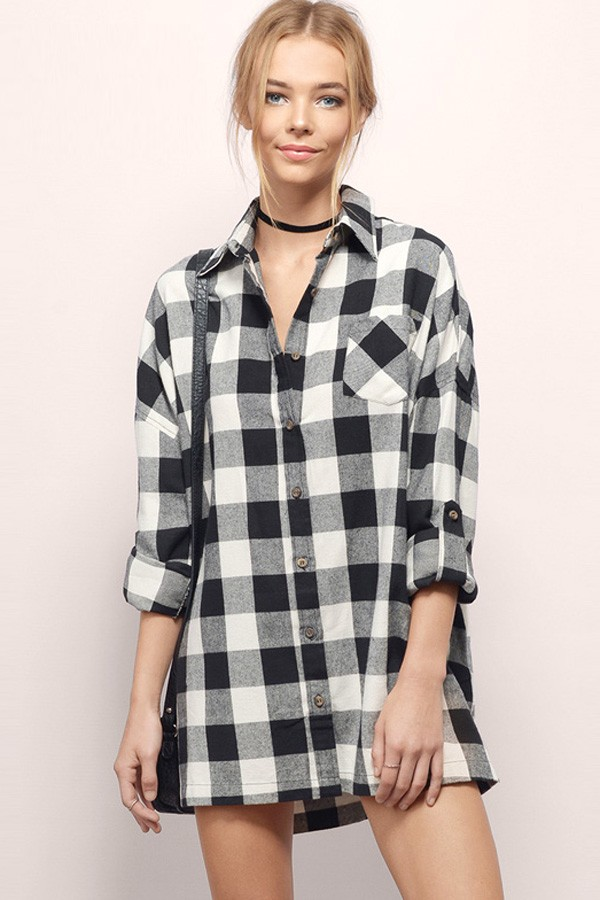 black white plaid print pocket decor casual boyfriend shirt. loading UQPXVIM