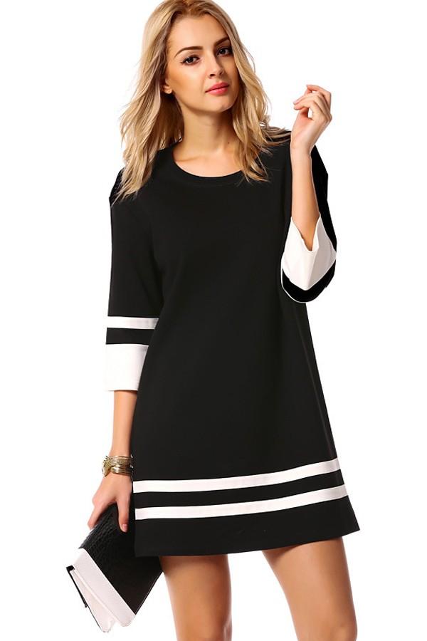 black white two tone round neck casual dress. loading SKQPOBW
